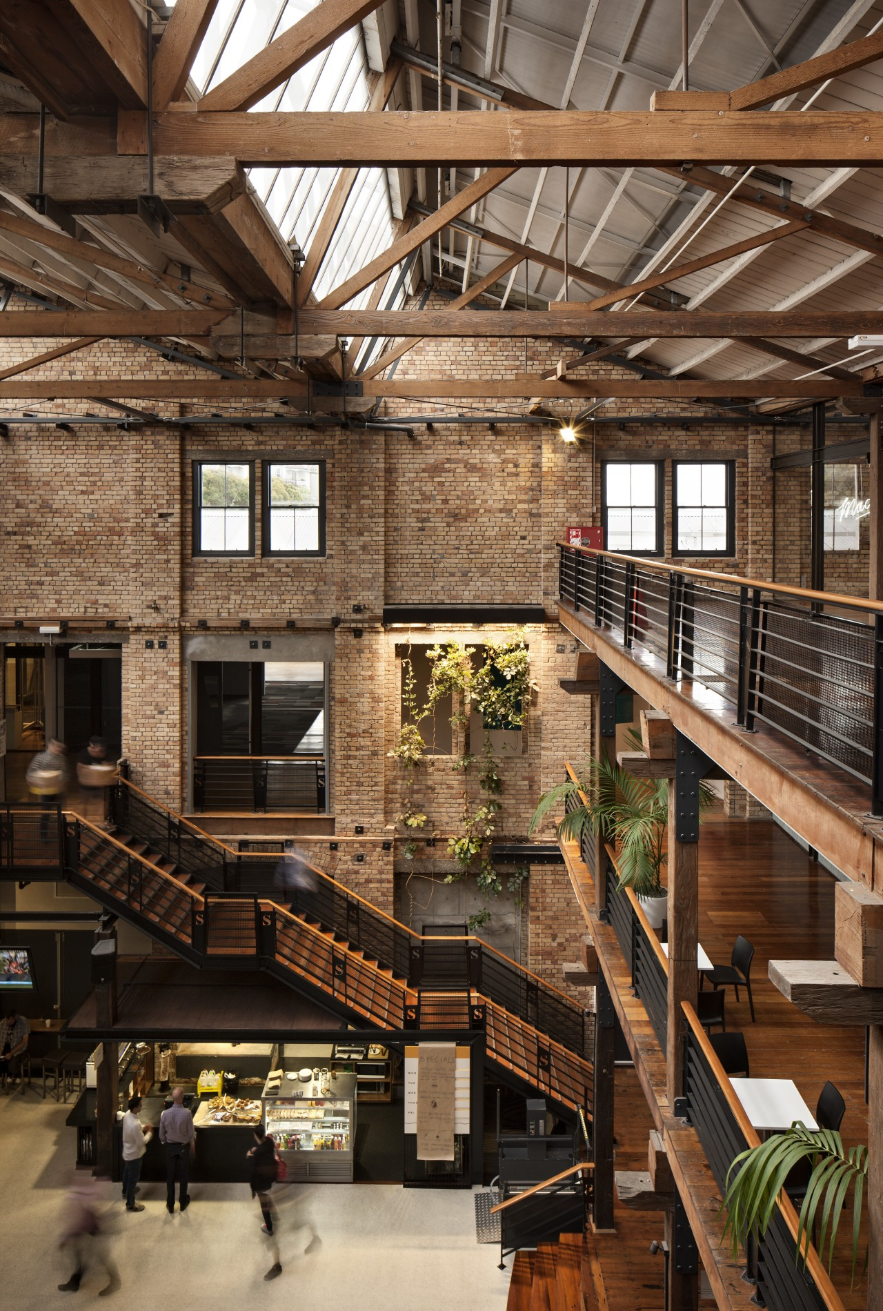 Haydn & Rollett Construction was the main contractor architecture, beam, daylighting, interior design, lobby, wood, brown