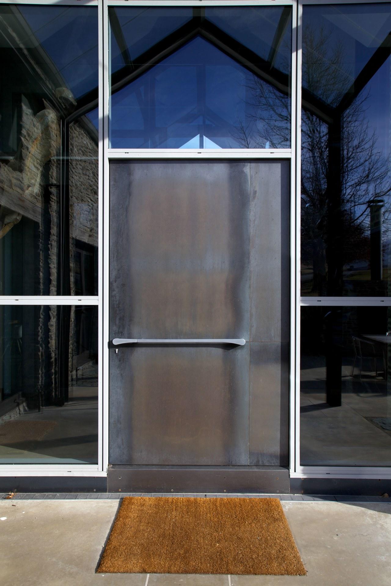 The front door handle is also part of architecture, door, facade, glass, window, black, gray