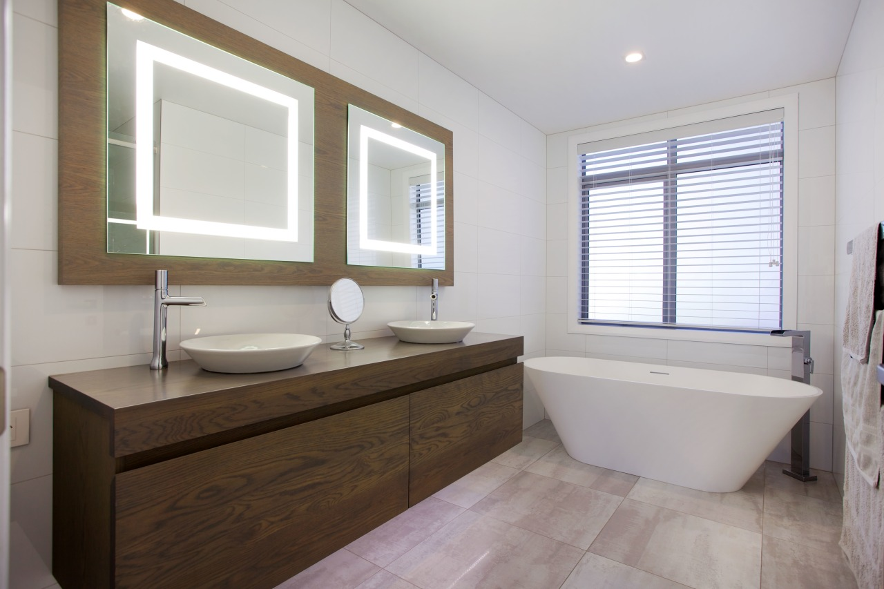 This bathroom by Mastercraft features a cantilevered timber bathroom, floor, home, interior design, property, real estate, room, sink, window, gray