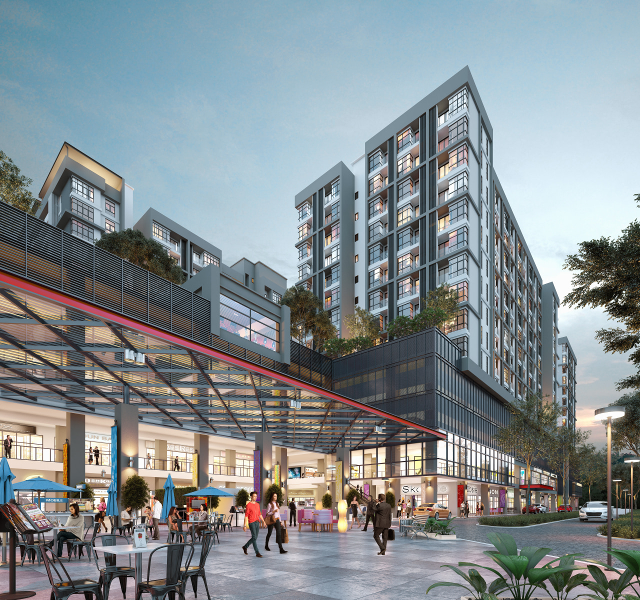 The 11,148m² Utropolis Marketplace enhances the appeal of building, city, commercial building, condominium, metropolis, metropolitan area, mixed use, neighbourhood, plaza, real estate, residential area, shopping mall, urban design, gray