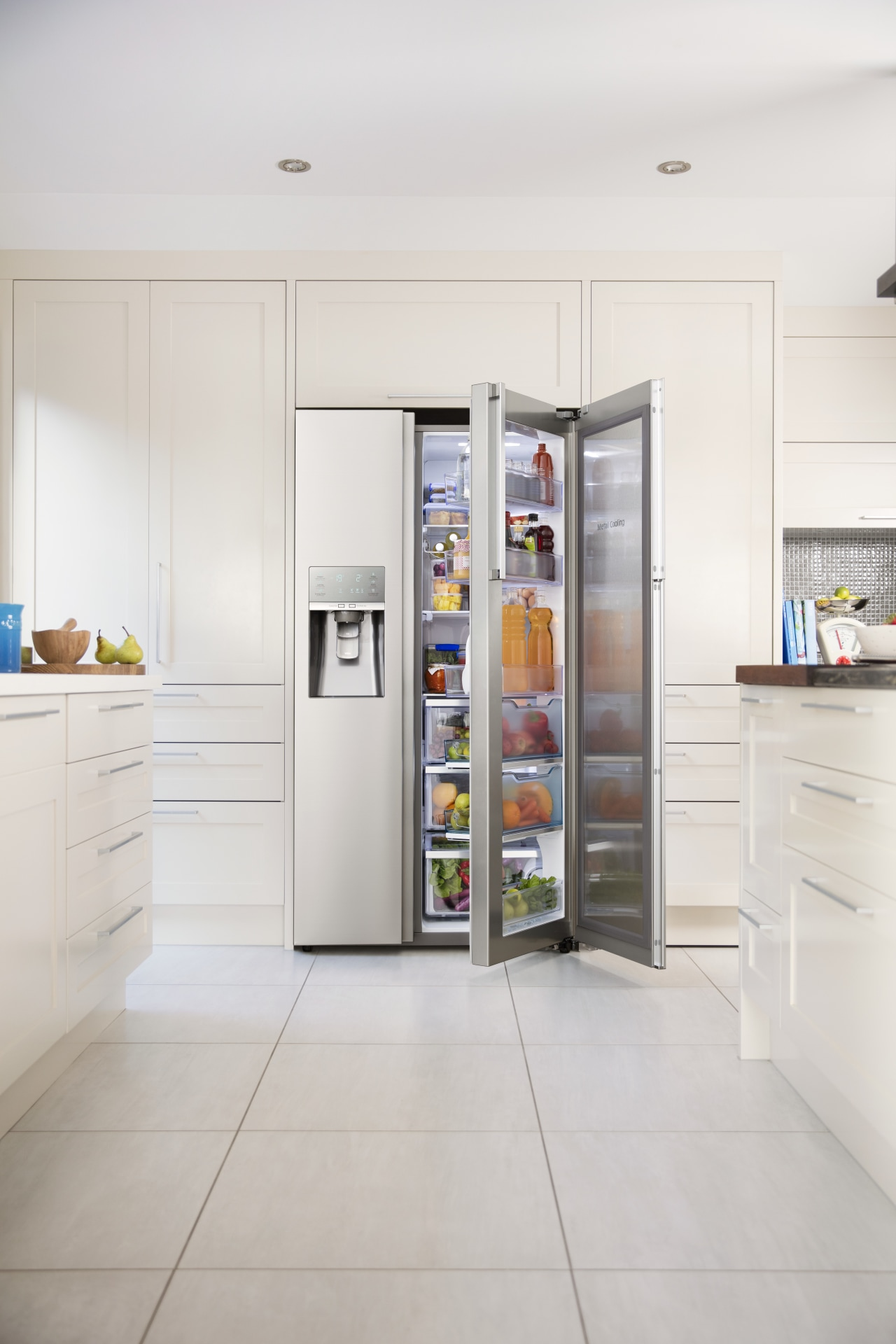 The Samsung Food Showcase side-by-side refrigerator lets you home appliance, interior design, kitchen, kitchen appliance, major appliance, refrigerator, white