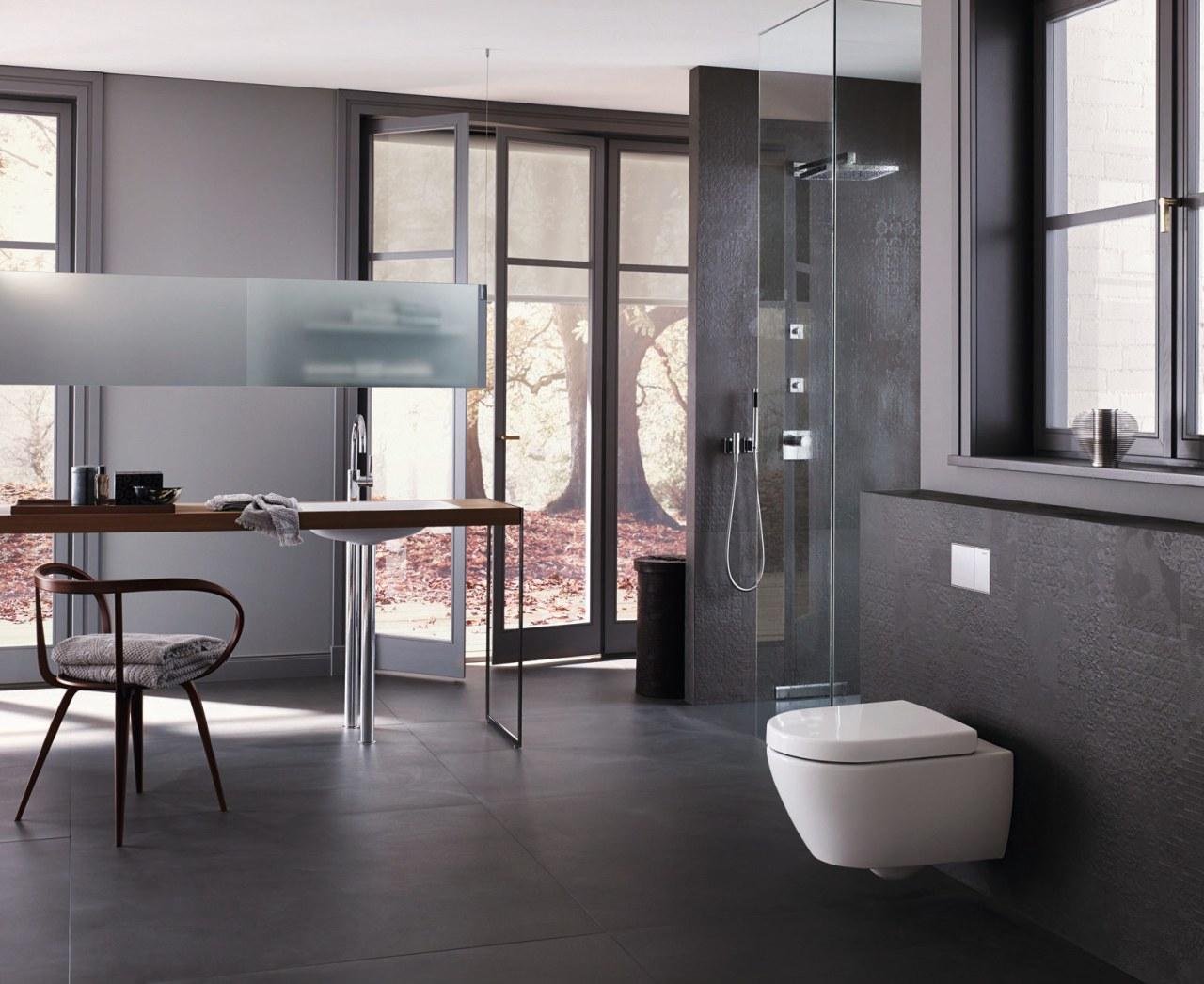 A Geberit inwall cistern and flush plate streamline bathroom, bathroom accessory, bathroom cabinet, floor, flooring, furniture, interior design, plumbing fixture, sink, tile, gray, black