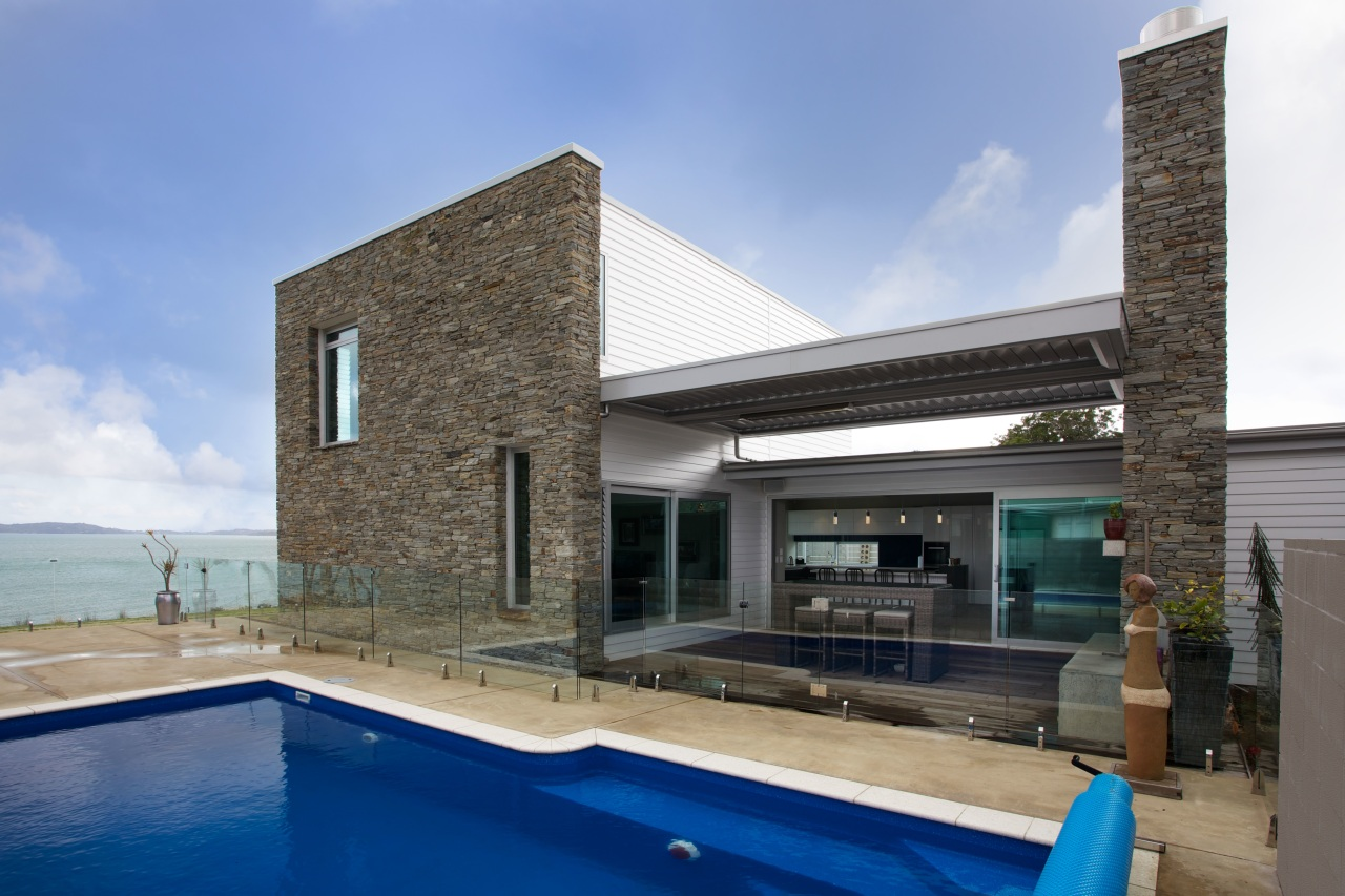 Hyde schist stone from the South Island is architecture, estate, house, property, real estate, swimming pool, villa