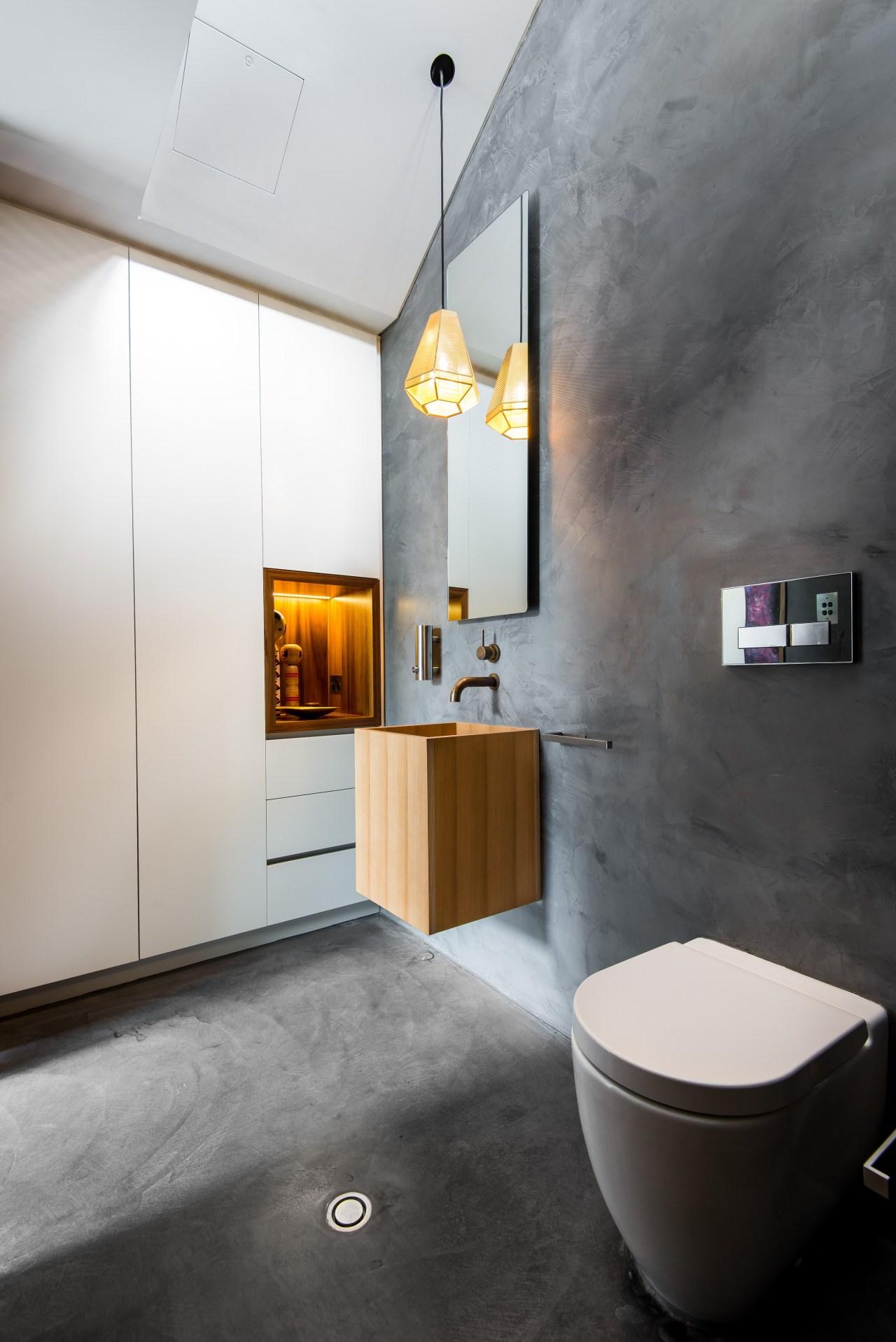 A wall niche in Tasmanian blackwood is in architecture, bathroom, floor, interior design, plumbing fixture, product design, room, sink, tap, wall, gray, black