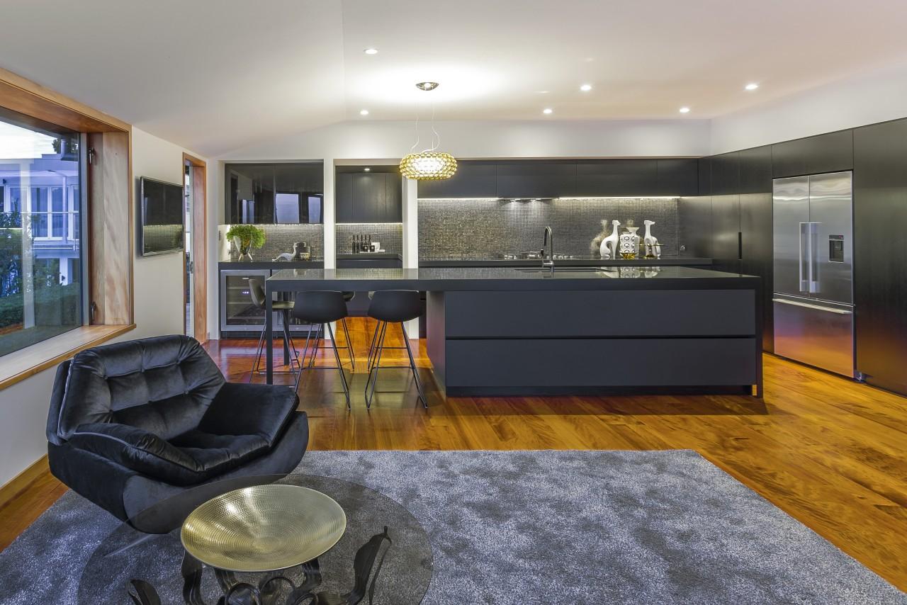See more of this Morgan Cronin kitchen interior design, kitchen, living room, real estate, room, gray, black