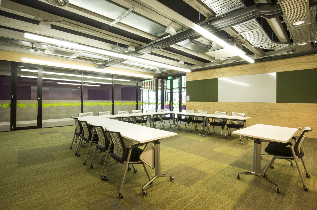 Most classrooms at the new Health and Science classroom, conference hall, furniture, institution, interior design, office, table, brown