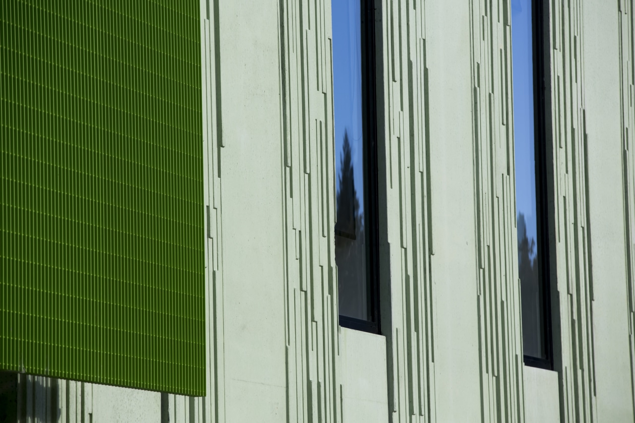 This patterned, green-pigmented concrete cladding on the new architecture, building, daylighting, door, facade, glass, green, house, line, structure, wall, window, window covering, wood, gray, green