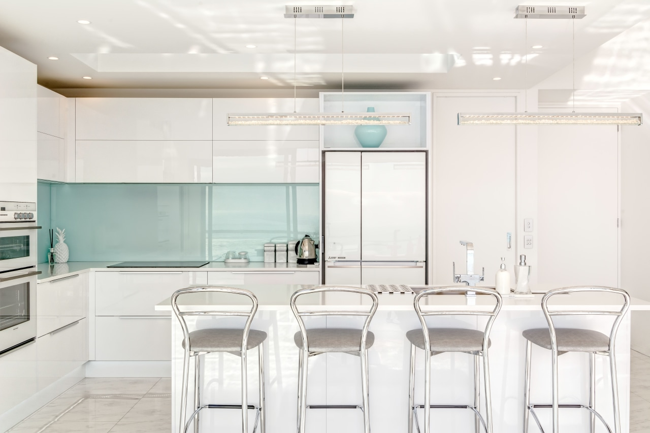 This seaside home by architect Stephan Meijer sits furniture, interior design, kitchen, product design, table, white