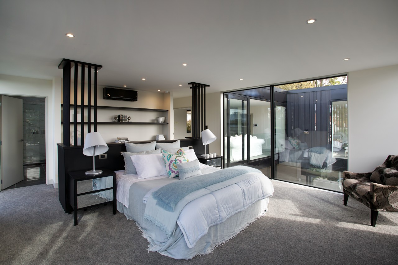 This master bedroom commands open yet private views architecture, bedroom, ceiling, estate, floor, home, house, interior design, property, real estate, room, window, gray