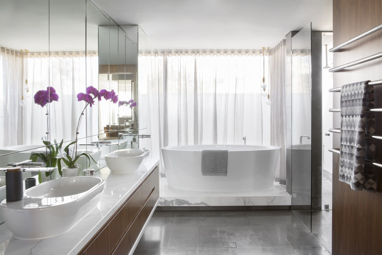 This white master bathroom, designed by Arc Seven bathroom, home, interior design, plumbing fixture, room, white, gray