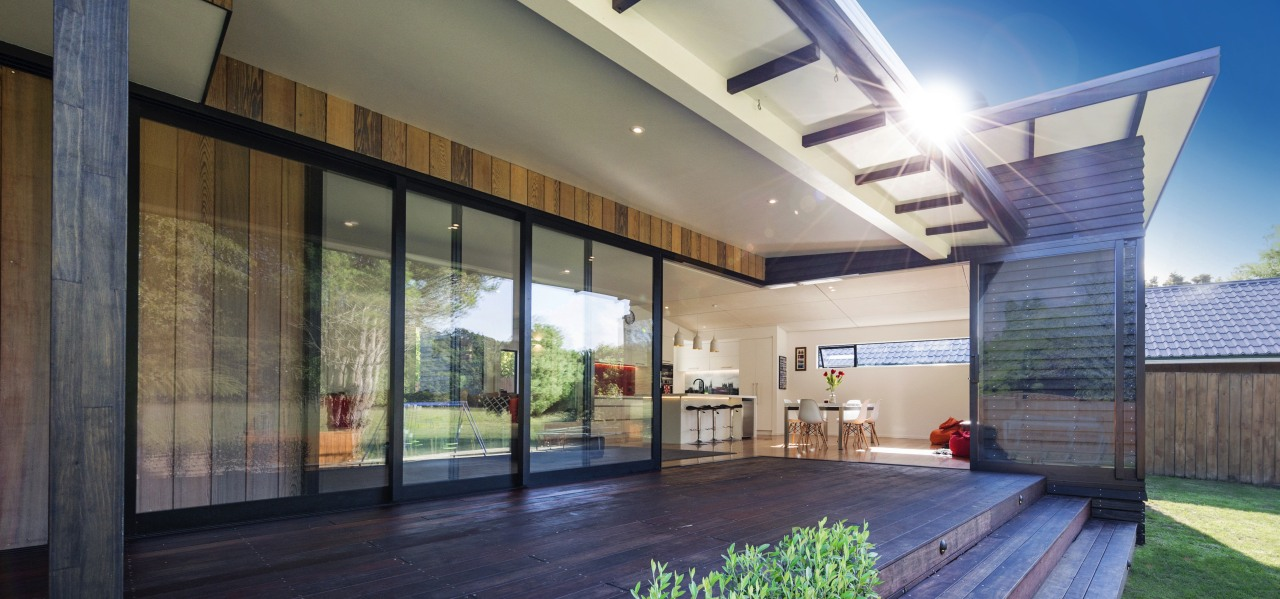 This homes Windowmakers joinery includes substantial sliders which architecture, ceiling, condominium, daylighting, estate, home, house, interior design, lobby, property, real estate, window, gray