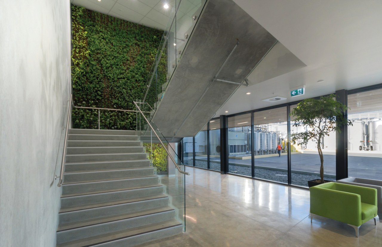 Green and growing a living wall greets visitors architecture, daylighting, glass, handrail, house, interior design, real estate, structure, window, gray
