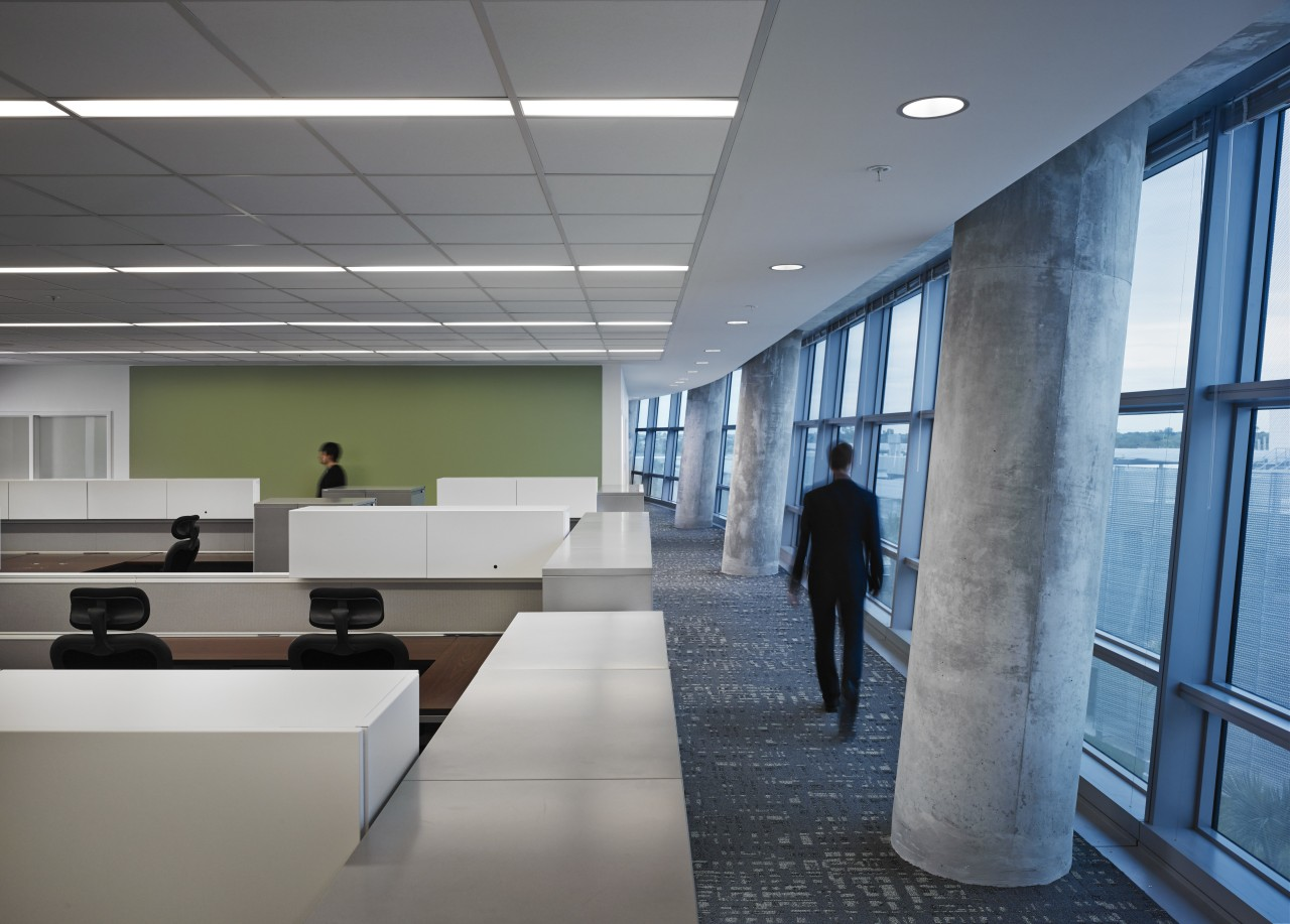 Staff circulation corridors on the perimeters of the architecture, ceiling, daylighting, interior design, lobby, office, gray