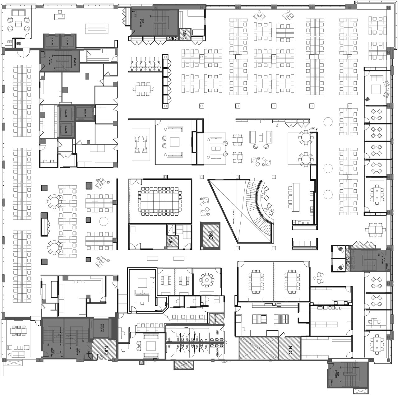 As this fourth floor plan at Havas Chicago architecture, area, black and white, design, drawing, floor plan, font, line, plan, product design, schematic, square, technical drawing, text, white