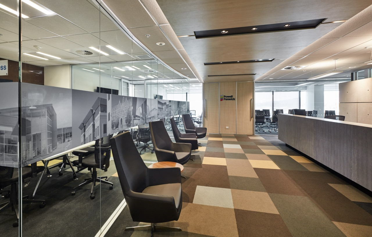 Black and white photography of clients projects decorate ceiling, floor, flooring, interior design, lobby, office, gray