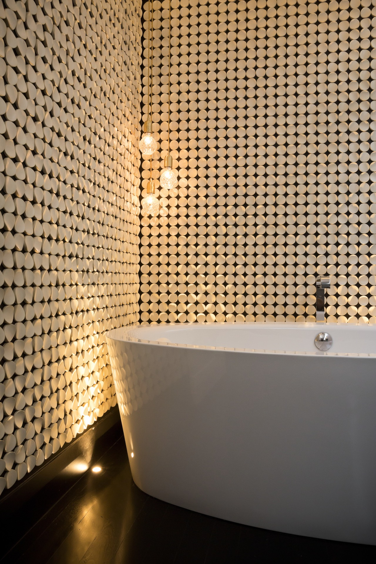 Labour of love this feature wall was built bathroom, ceiling, daylighting, floor, flooring, interior design, light, lighting, lighting accessory, pattern, tile, wall, orange