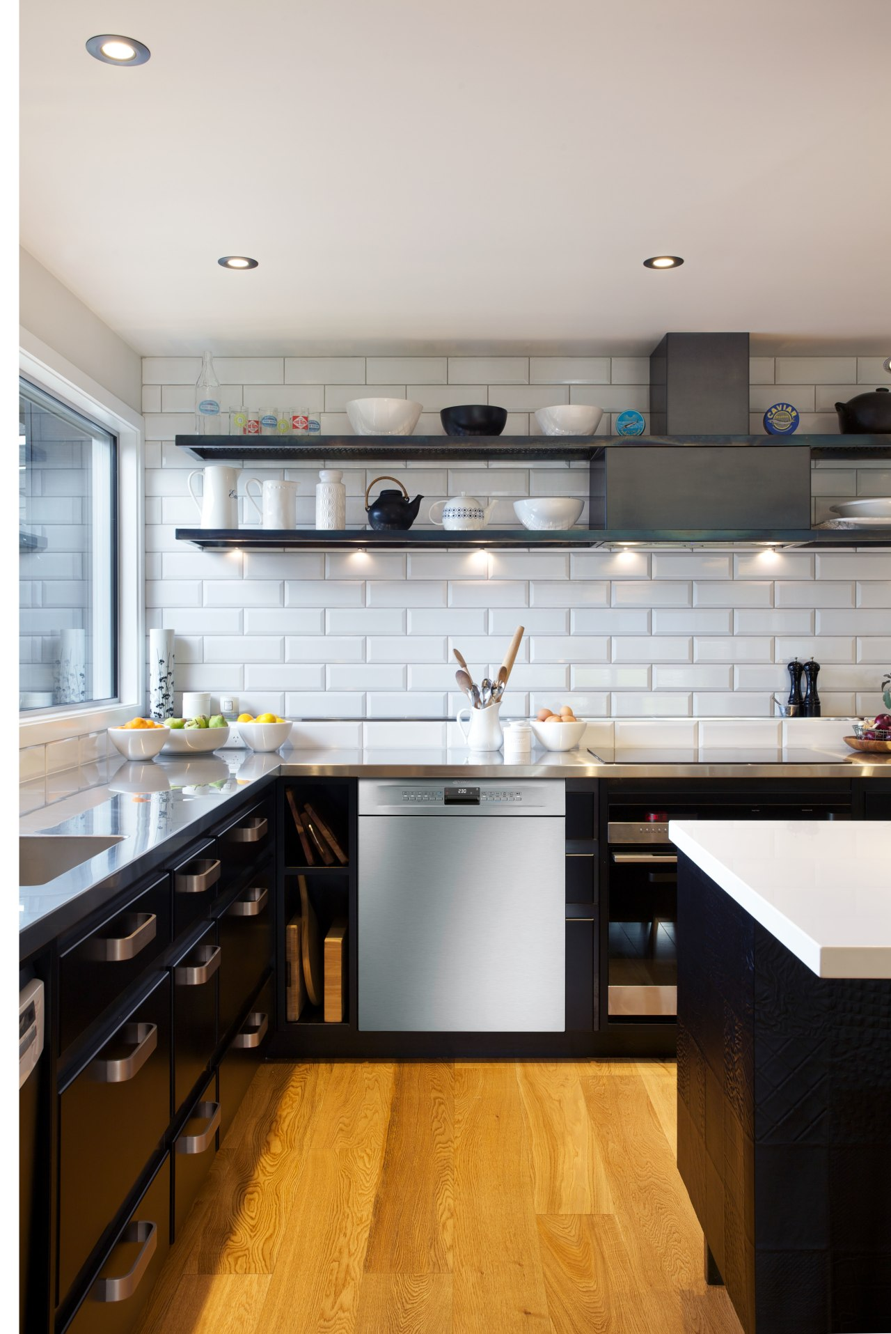 A next-level dishwasher from Smeg features in this cabinetry, countertop, cuisine classique, floor, hardwood, interior design, kitchen, room, gray