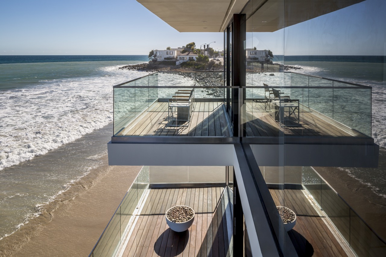 Decks on both levels cantilever about 3m out apartment, architecture, building, condominium, real estate, sea, water, gray