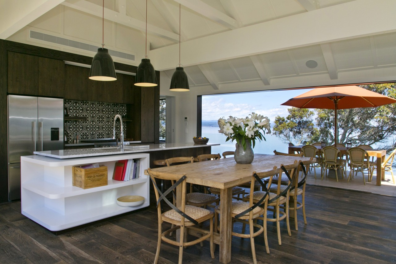 A central cabinetry pod with its graphic encaustic interior design, real estate, gray, brown