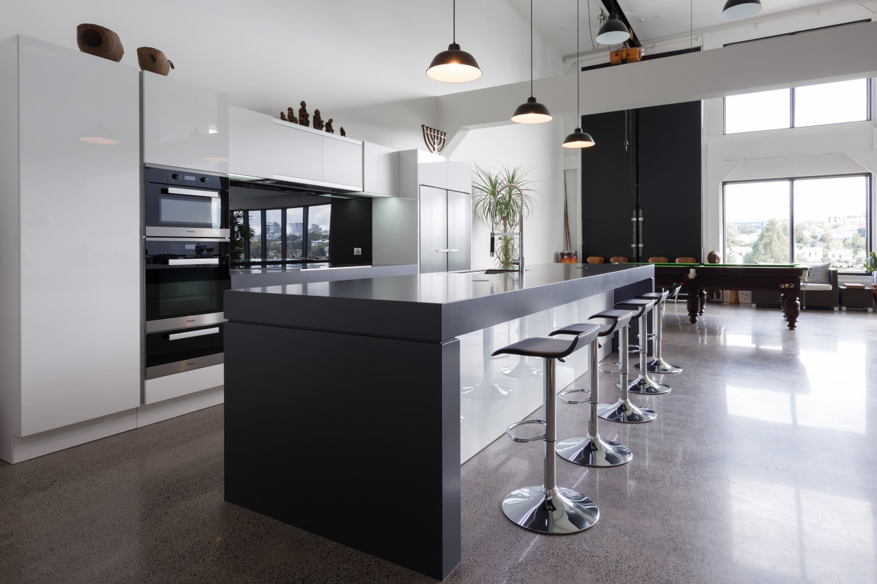 This kitchen is positioned a reasonable distance from countertop, floor, flooring, interior design, kitchen, real estate, gray, black