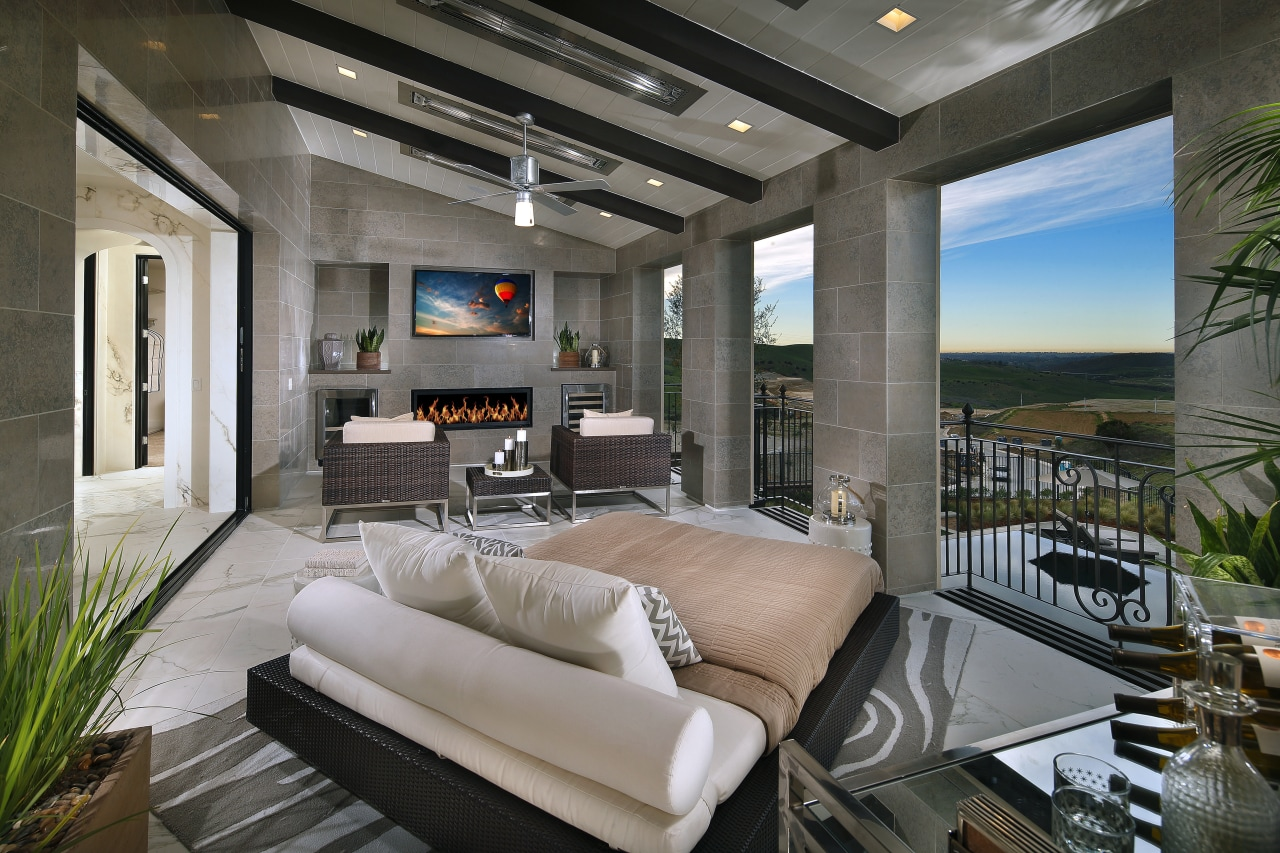 This grand master suite reflects a welcoming fusion estate, home, interior design, living room, real estate, gray, black