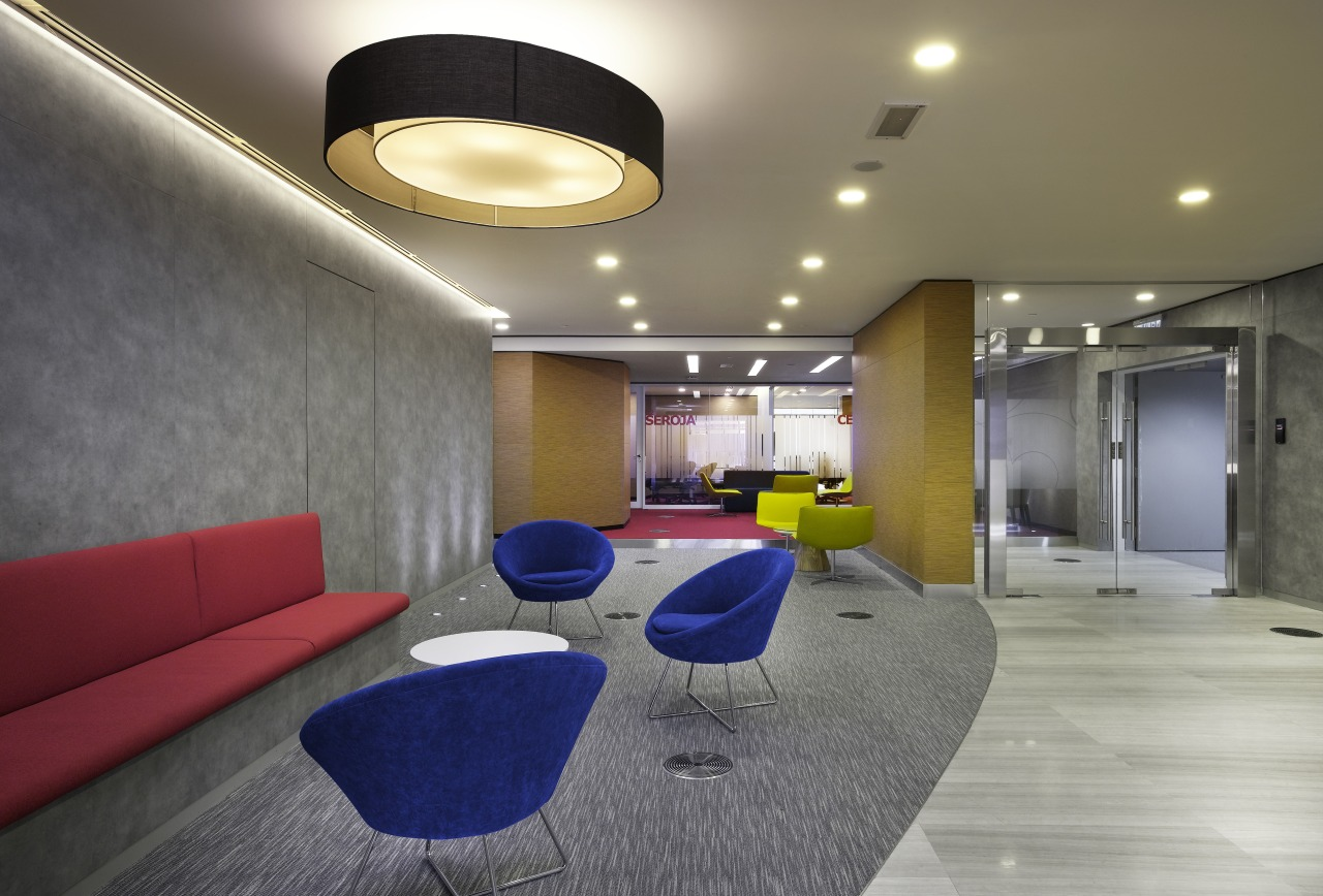 In the fit-out of AMGeneral, the reception and architecture, ceiling, house, interior design, lobby, office, real estate, gray