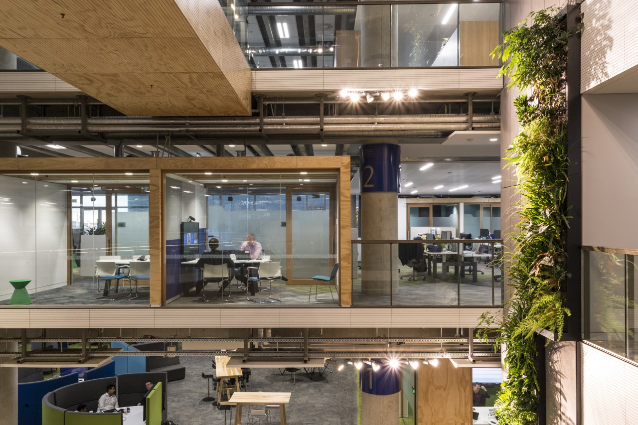 Jasmax positioned all the lifts at the Fonterra interior design, brown
