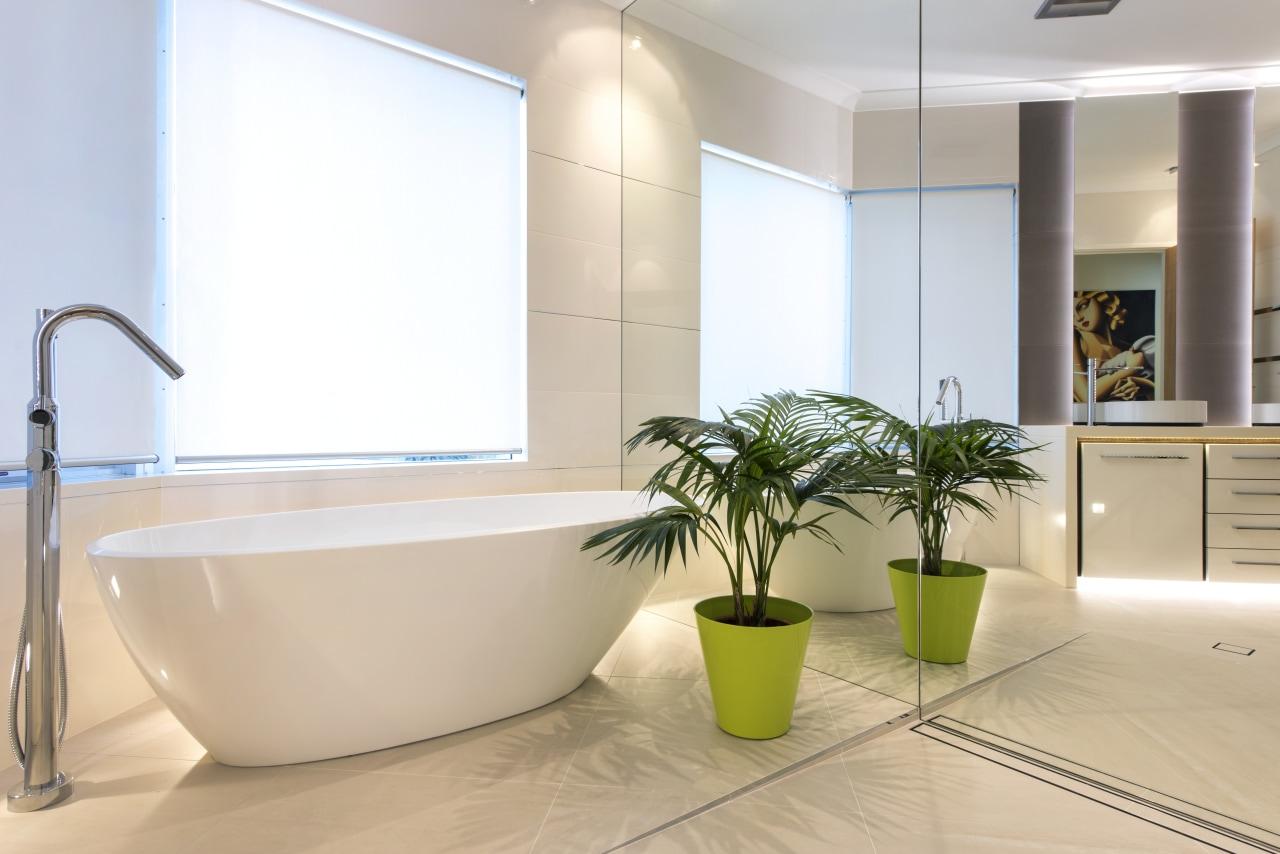 Semi-transparent blinds admit light but retain privacy in bathroom, floor, interior design, product design, tap, gray, white