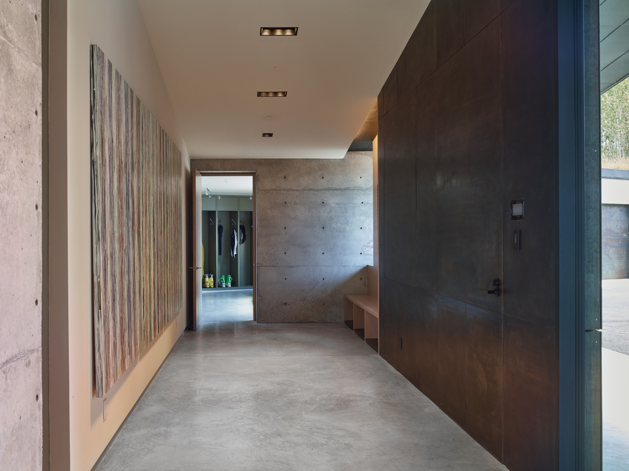The entrance to this home provides perfect access architecture, ceiling, floor, house, interior design, gray, black