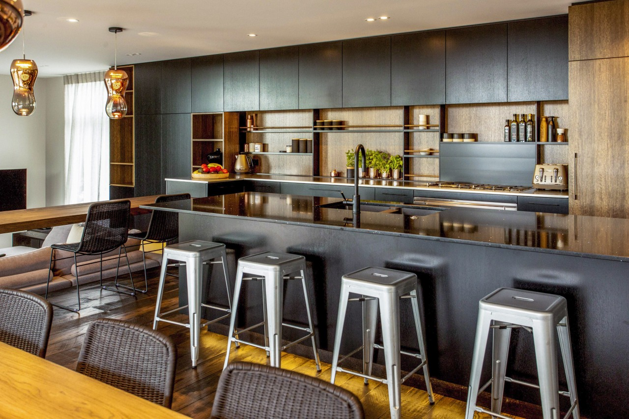 This kitchen created by designer Colleen Holder and countertop, interior design, kitchen, gray
