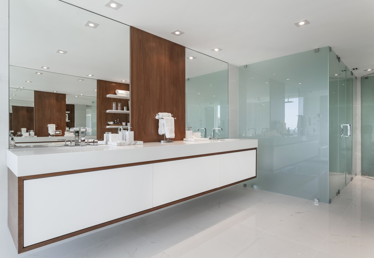 Translucent green glass, stone-look tiles, and white lacquer bathroom, interior design, kitchen, room, sink, gray