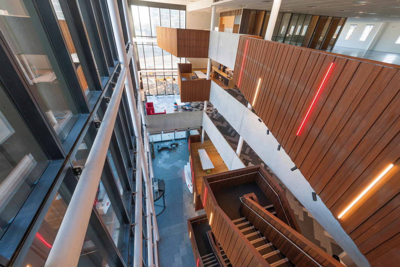 The InnoV8 buildings timber internal finishes bring warmth apartment, architecture, building, daylighting, real estate, stairs, wood, brown