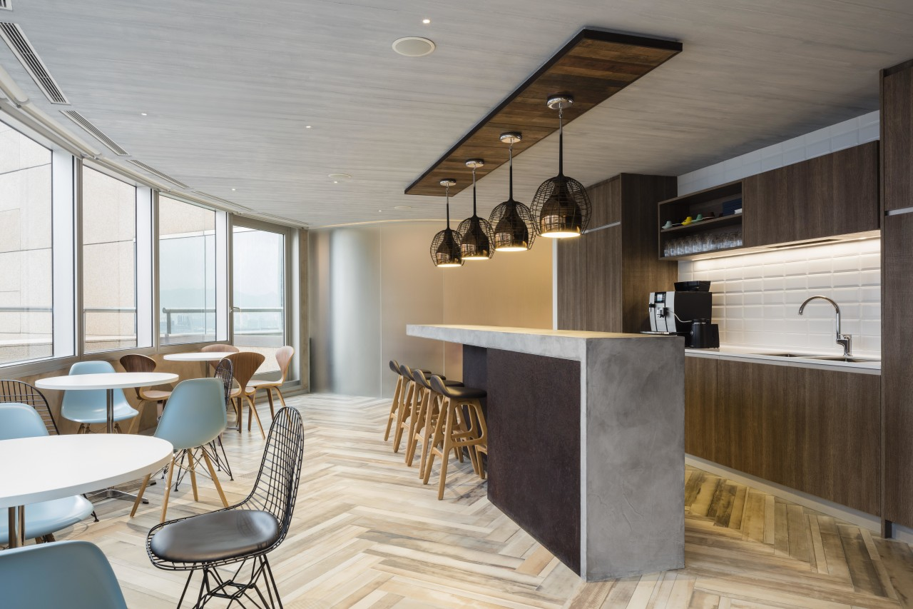The Business Lounge or canteen at the new architecture, ceiling, interior design, table, gray