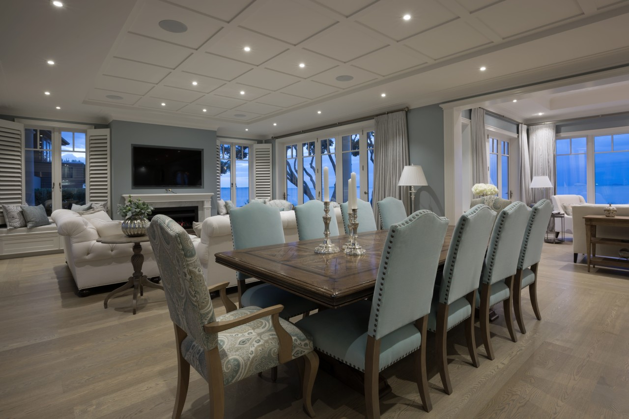 In this home, the colour palette is a ceiling, deck, dining room, interior design, real estate, yacht, gray