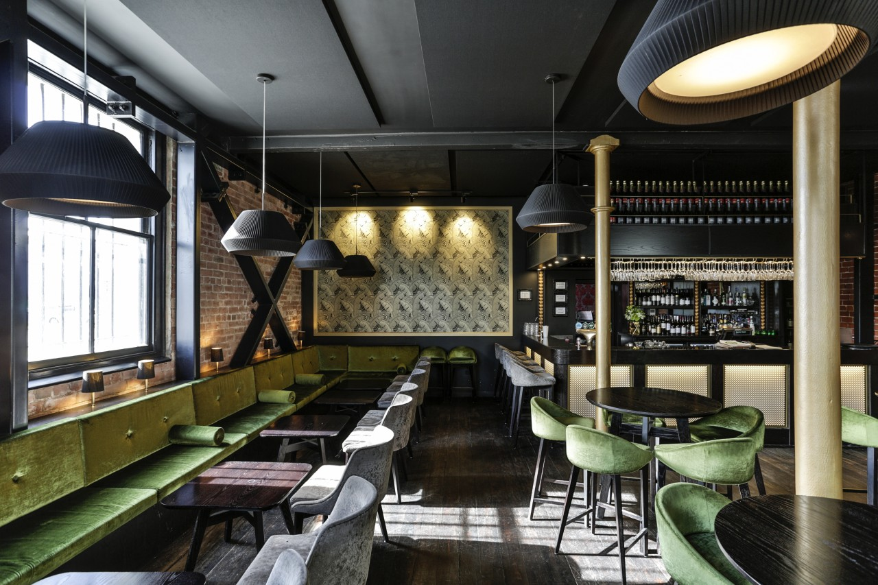 Dux Central is housed in a seismically strengthened interior design, restaurant, black