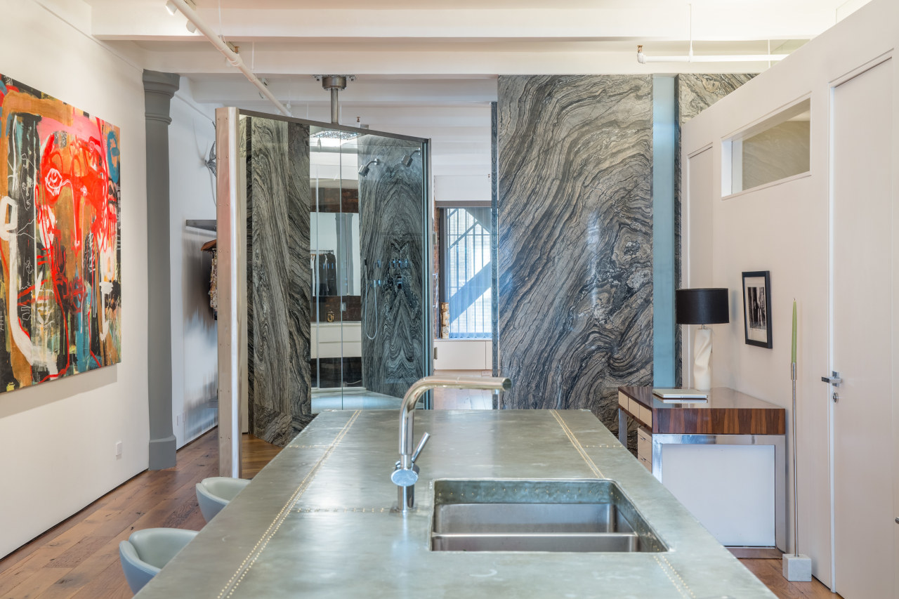 Public or private? This large 360° pivoting panel floor, interior design, modern art, gray