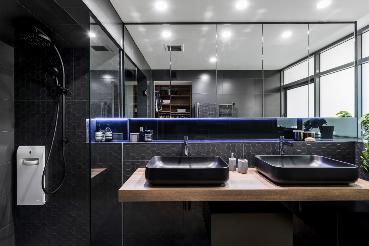 The steam unit in the corner provides a architecture, countertop, interior design, black