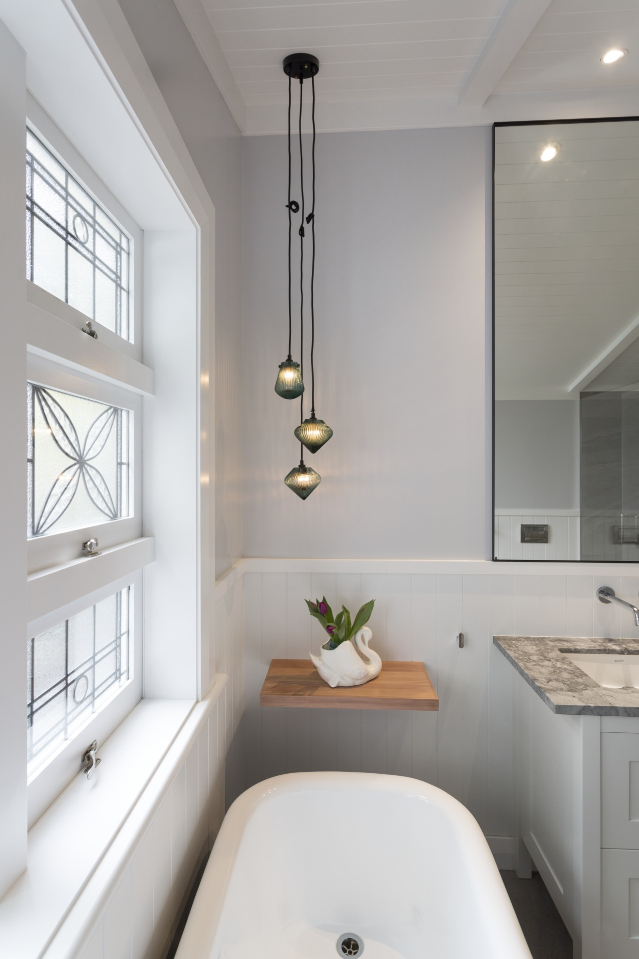 White Bathroom With Lead Light Window And Trends