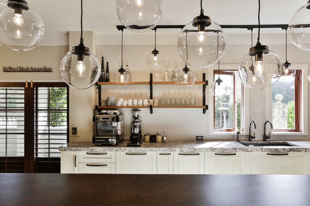Feature pendant lights, wrought iron shelf brackets and ceiling, chandelier, countertop, cuisine classique, home, interior design, kitchen, light fixture, lighting, gray