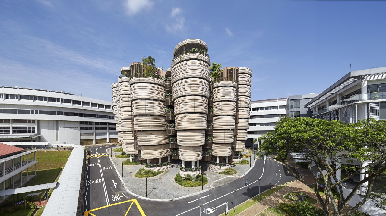 The Hive at Singapores National Technological University is architecture, building, condominium, corporate headquarters, headquarters, metropolitan area, mixed use, real estate, sky, teal