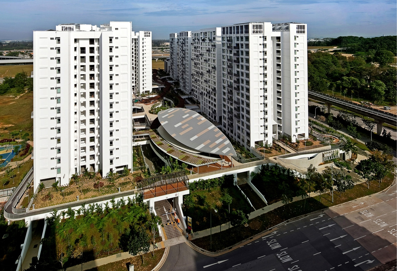 The Treelodge@Punggol eco precinct is Singapores first Green apartment, bird's eye view, building, city, condominium, corporate headquarters, metropolis, metropolitan area, mixed use, neighbourhood, real estate, residential area, suburb, tower block, urban area, urban design, brown