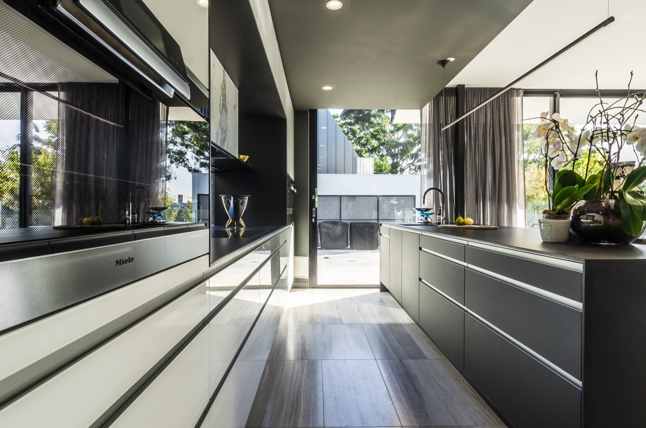As part of this kitchen renovation, the reinvented architecture, daylighting, house, interior design, kitchen, real estate, black, gray, white