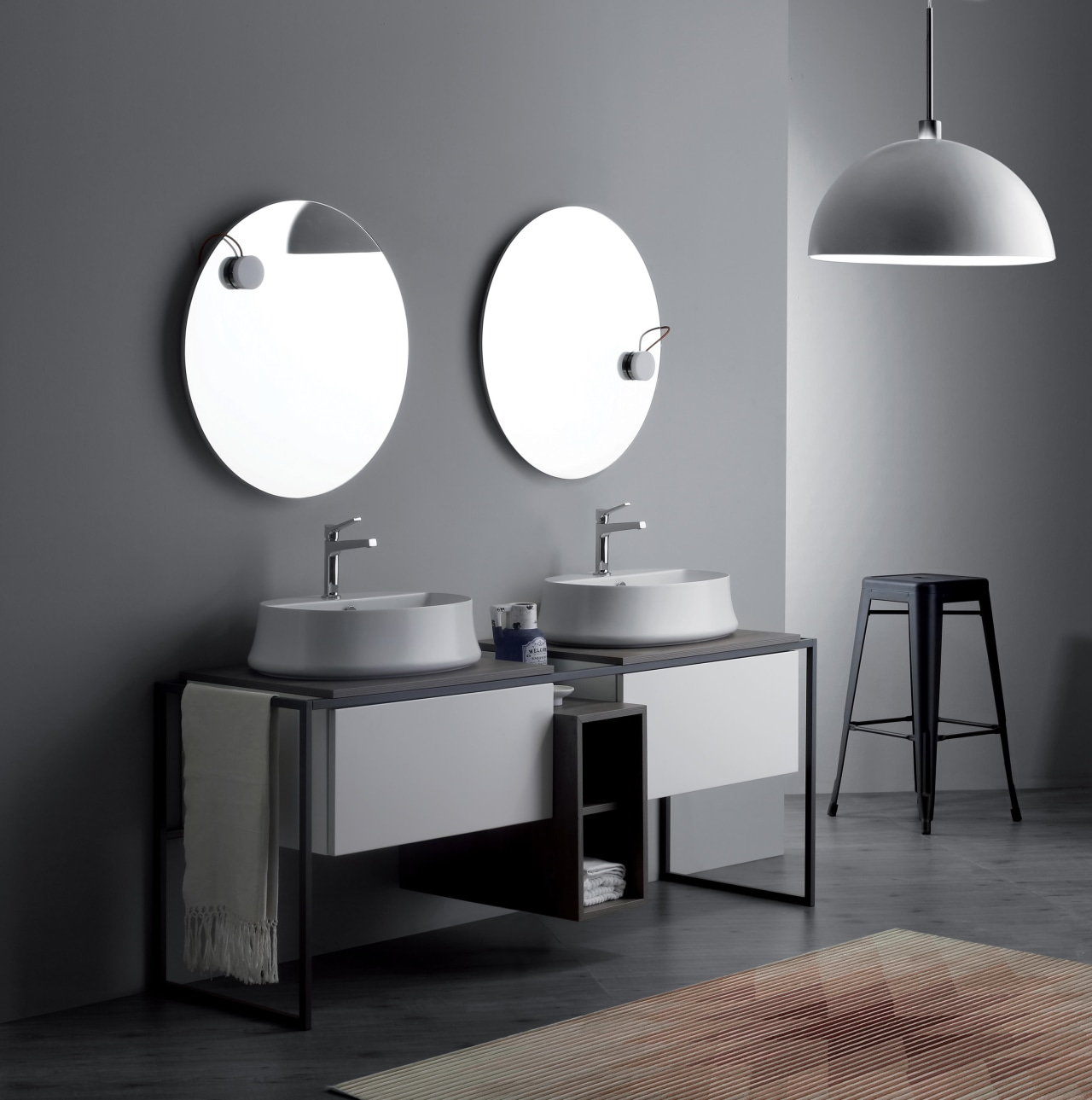 The Sharp basin range suits a wide range bathroom, bathroom accessory, bathroom cabinet, bathroom sink, black and white, furniture, interior design, light fixture, monochrome, plumbing fixture, product design, sink, still life photography, table, tap, gray, black