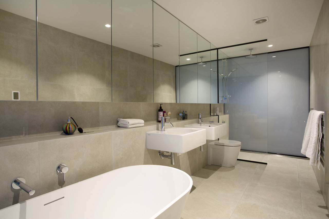 Giant walls of frosted glass at both end architecture, bathroom, countertop, floor, interior design, product design, real estate, room, sink, gray