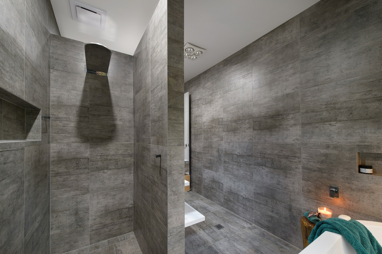 Light and heat from above – handy but architecture, bathroom, concrete, daylighting, floor, flooring, interior design, tile, wall, gray