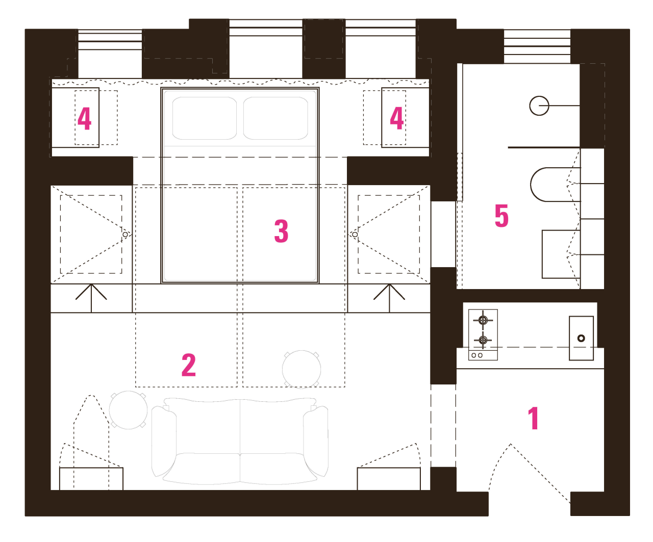 A space-hogging tub was removed in this studio area, design, floor plan, line, pattern, plan, product design, schematic, square, text, white