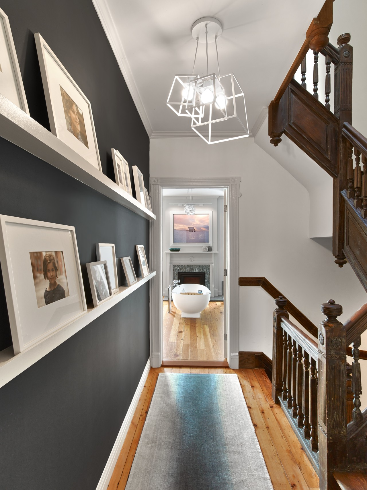 For this renovation, the connecting hallway between bedroom ceiling, home, interior design, living room, room, gray
