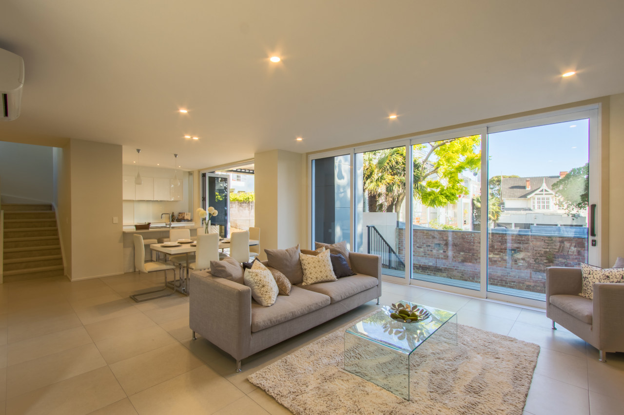 Floor-to-ceiling glazing features in St Georges Bay Road ceiling, estate, floor, home, house, interior design, living room, property, real estate, room, window, brown, gray