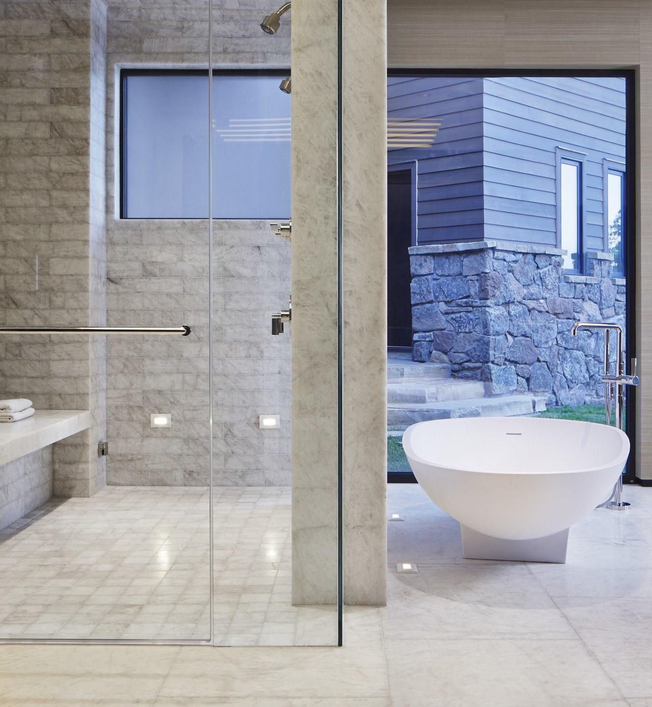 Four different formats of brushed Iceberg Quartzite tiles architecture, bathroom, floor, flooring, interior design, plumbing fixture, tap, tile, wall, gray
