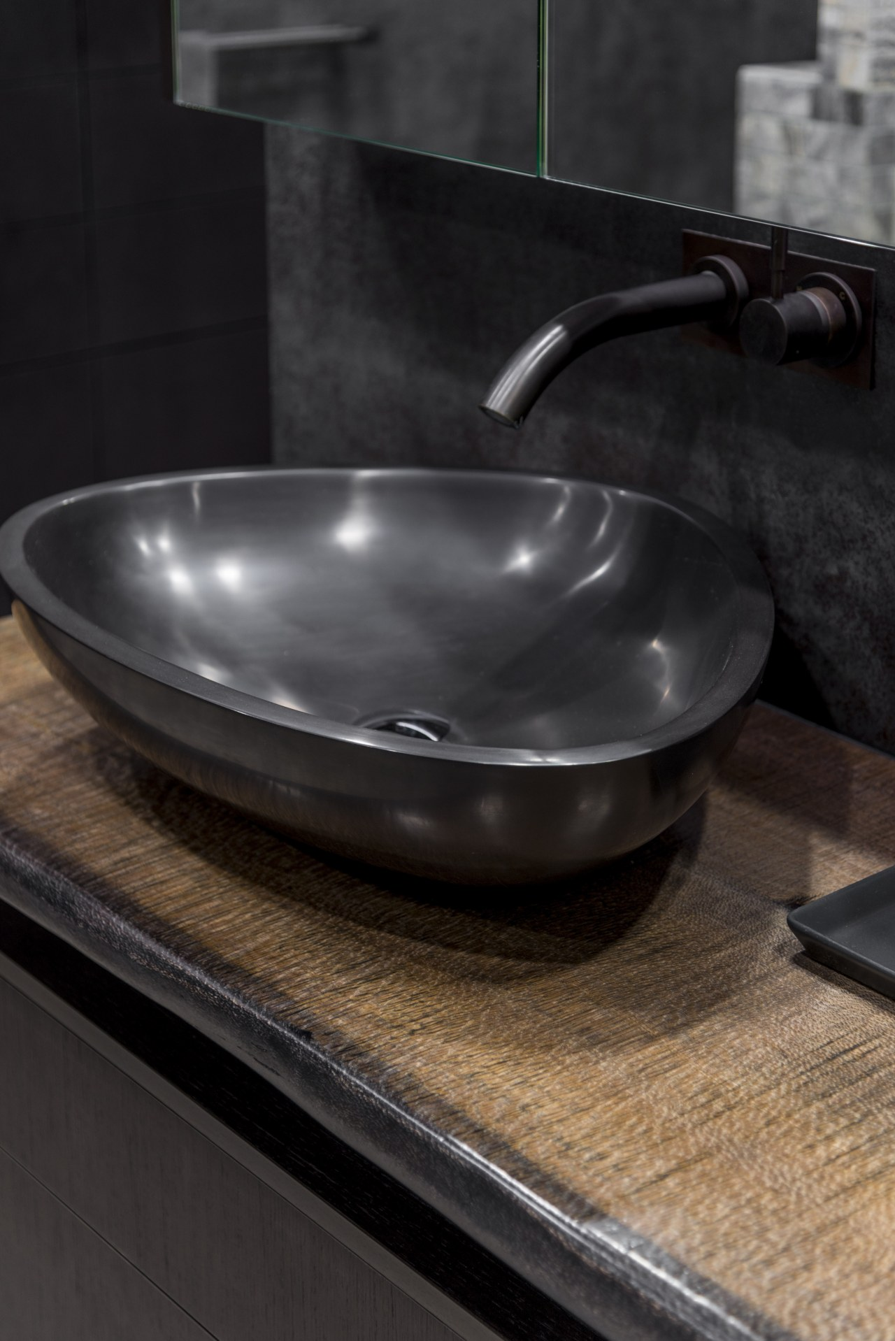 Engineered stone benchtop vessels add to other curved cookware and bakeware, plumbing fixture, sink, black